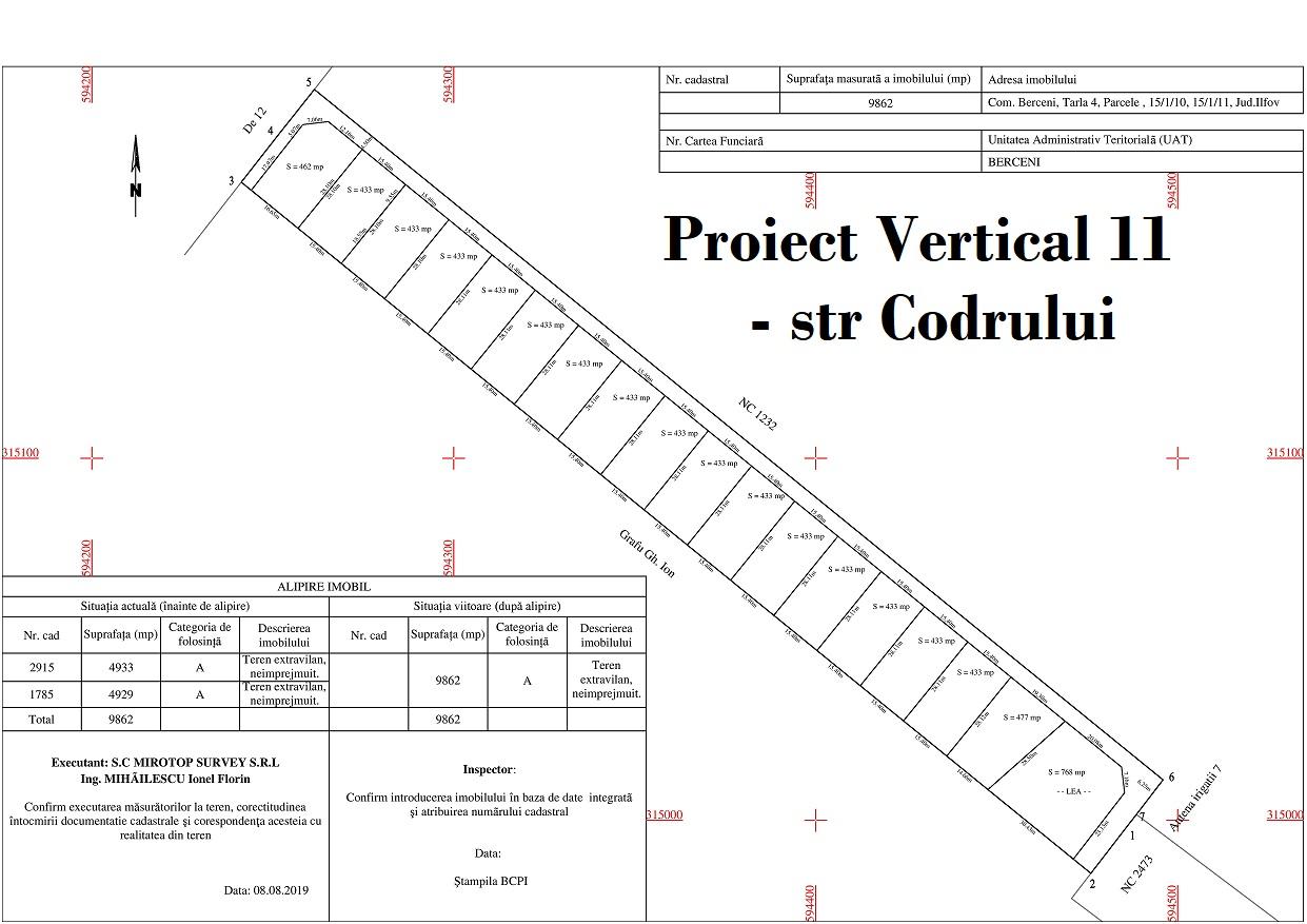 Teren in Rate cartier nou str Codrului - comuna Berceni Vertical 11